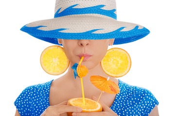 Girl with Orange Drink and Orange Slice Earrings Wearing Hat