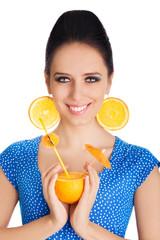Girl with Orange Drink and Orange Slice Earrings