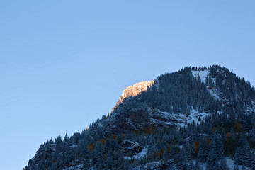 Snow Covered Mountains Maroon Bells in sunrise