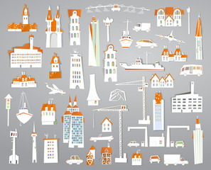 paper stickers city set