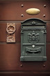 Antique metal mail box and old door knob