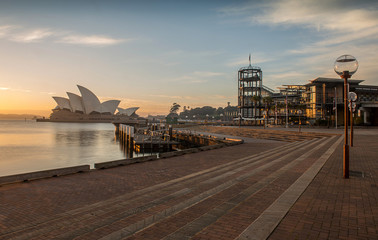 Sunrise at Opera house landmark of Sydney, Australia
