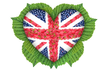 The Union Jack in the form of hearts from the berries.