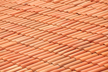 Old red tiles roof background