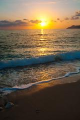 Sunset on the sea horizon,  evening wave