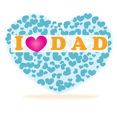 I love you dad happy father's day hearts vector