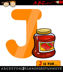 letter j with jam cartoon illustration