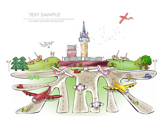 Airport illustration, travel concept