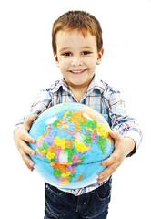 Globe on child hands. Isolated on white background