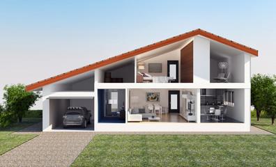 Villa vista in sezione