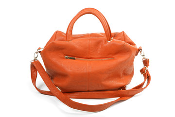 Orange female bag isolated on a white background