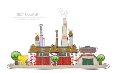 Industrial illustration, factory and energy power station