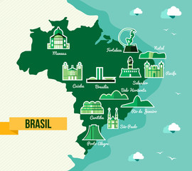 Landmark Brazil map silhouette icon