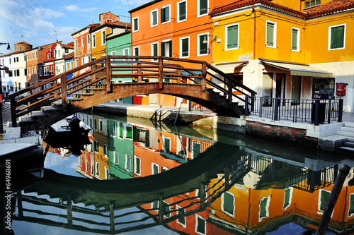 Venice, Burano island canal and colorful houses, Italy - 64968691