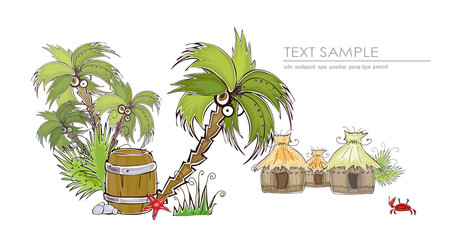 Jungle cafe, travel Illustration, Happy world collection