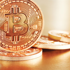 Photo .Golden Bitcoins on a gold background(new virtual money )