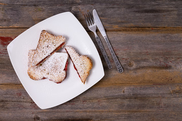 Strawberry jam panini sprinkled with sugar