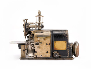 Old Industrial Overlock Sewing Machine Front View