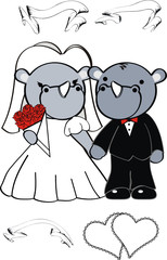 rhino cartoon wedding set