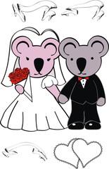 koala cartoon wedding set