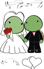 turtle cartoon wedding set