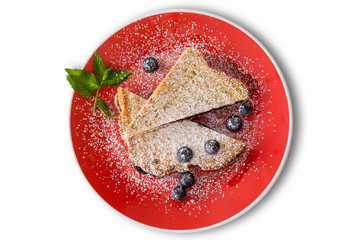 Delicious blueberry jam panini with fresh berries