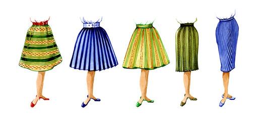 Fashion female models skirts. Options