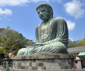 The Great Buddha (Daibutsu) at  Kotokuin Temple in Kamakura, Jap