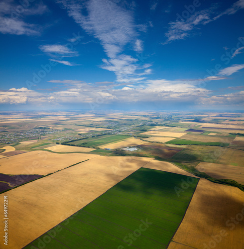 Aerial view of the countryside with fields of crops