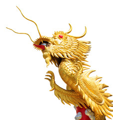 Giant golden Chinese dragon on isolate white background