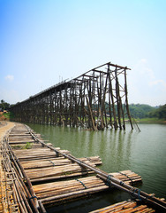 Teak wood bridge was break up and bamboo bridge, Kanchanaburi, T