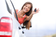 Car driver woman happy showing car keys