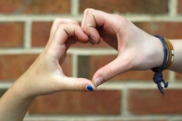 Heart hands-brick