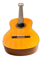 wooden body of classical acoustic guitar