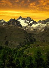 Ober Gabelhorn in the sunset - Swiss Alps