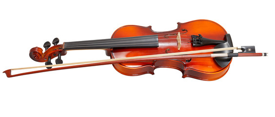 traditional wooden violin with french bow