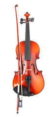 typical wooden violin with transitional bow