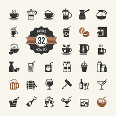 Basic - Drink Icons vector set