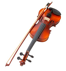 typical wooden fiddle with transitional bow