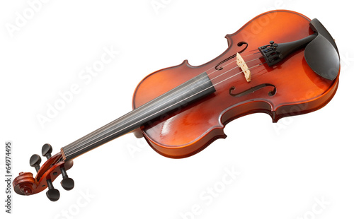traditional wooden fiddle isolated on white - 64974495