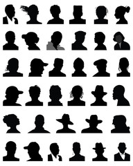 Big set of black silhouettes of heads, vector