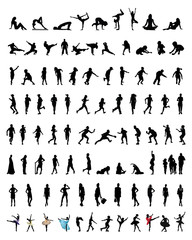Set of silhouettes of people 2, vector