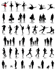 Set of silhouettes of people 3, vector