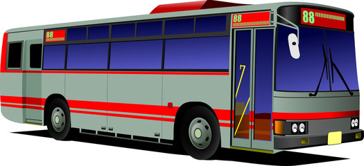 Blue-red city bus. Coach. Vector illustration