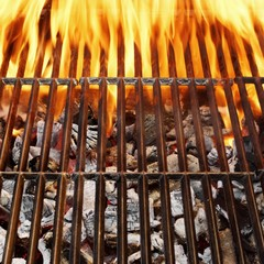 Barbecue Grill, Hot coal and Burning Flames