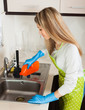 Blonde woman cleaning pipe with detergent