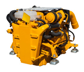 yellow engine over white