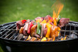 canvas print picture - Tasty skewers on the grill.