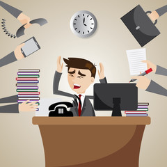 cartoon businessman busy on working time