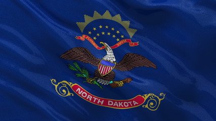 US state flag of North Dakota waving in the wind - seamless loop